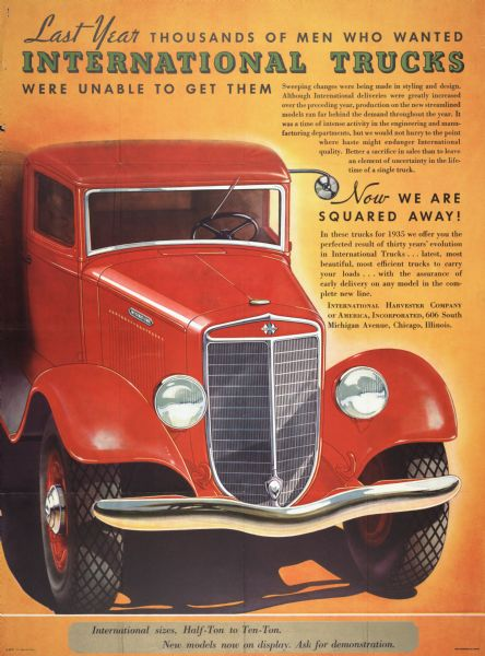 1935 International Truck Advertising Poster