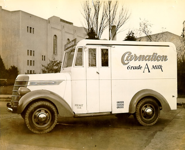 1937-40 International milk delivery truck owned by Carnation Milk