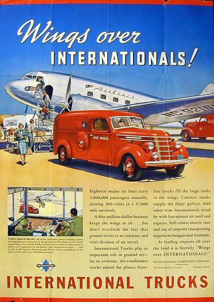 1939 International Air Mail Delivery Truck Advertising Poster