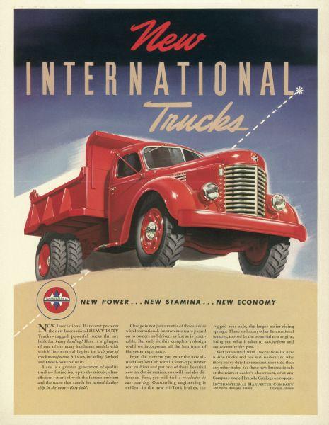1941 International K-Line Truck Advertising Proof a