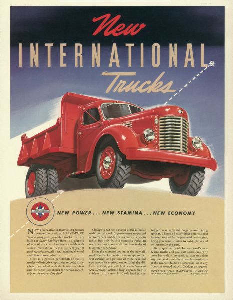 1941 International K-Line Truck Advertising Proof a