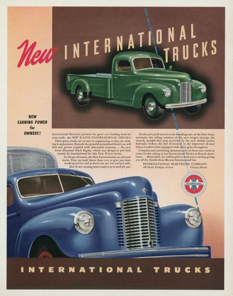 1941 International K-Line Truck Advertising Proof b