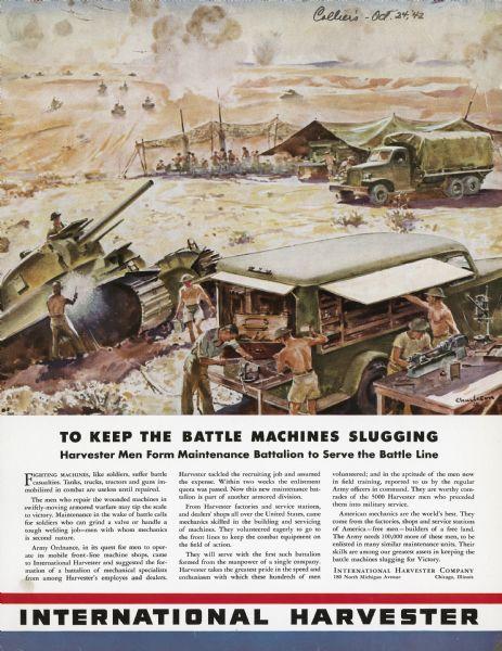 1942 International Harvester Maintenance Battalion Poster