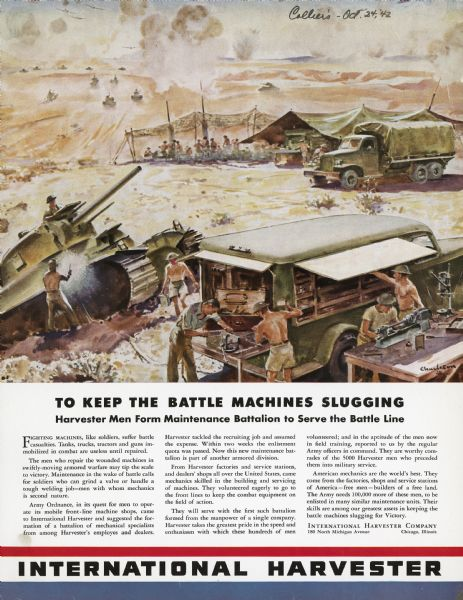 1942 International Harvester Maintenance Battalion Poster