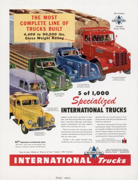 1947 International Truck Advertising Proof ad