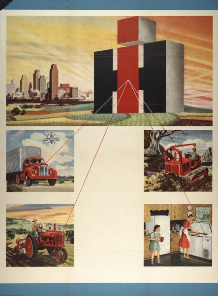 1947 New International Harvester Logo Advertising Poster