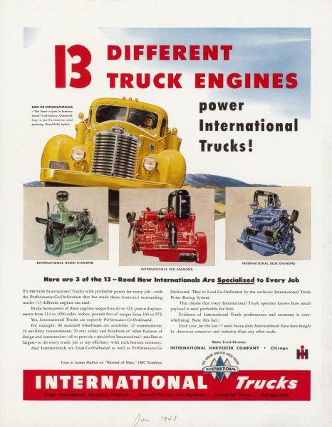 1948 International Truck Advertising Proof ad