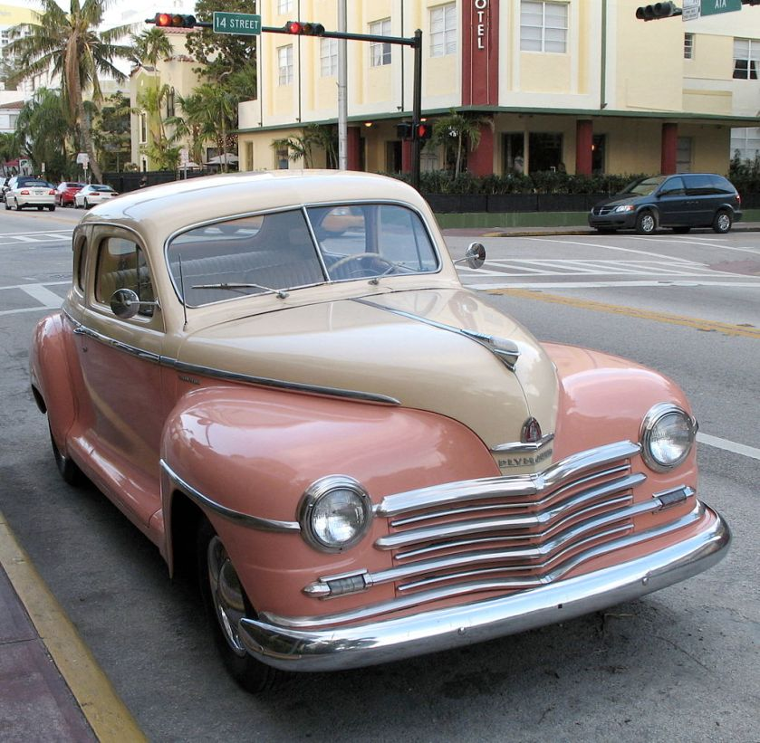 1948 Plymouth coupe on street in Miami Beach, Florida