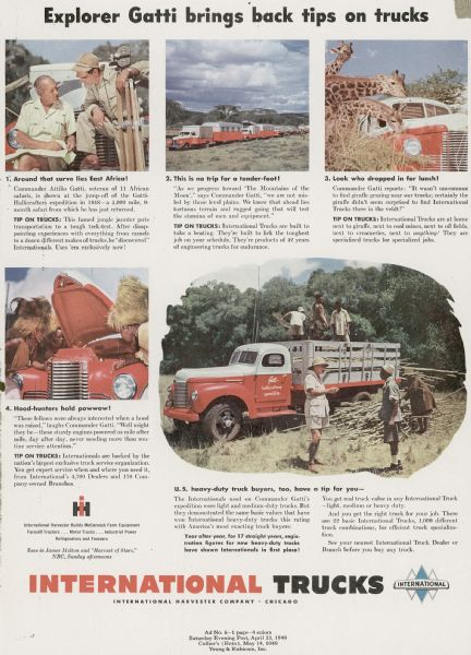 1949 International Truck Advertising Proof Featuring Commander Gatti