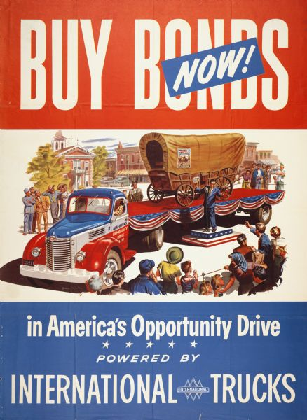 1949 International trucks promoting United States government bonds