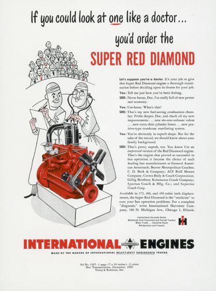 1950 International Engine Advertising Proof a