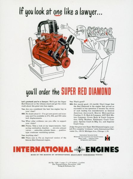 1950 International Engine Advertising Proof