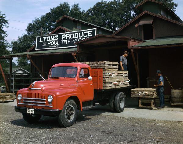 1950 International L-160 Truck Delivering Chickens