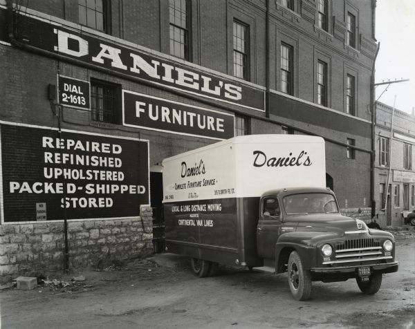 1950 International L-160 truck owned by the S.L. Daniel Furniture and Mattress Factory