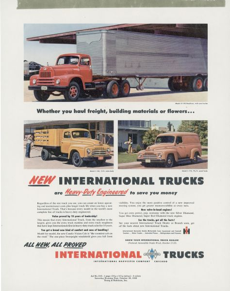 1950 International L and LF Truck Advertising Proof