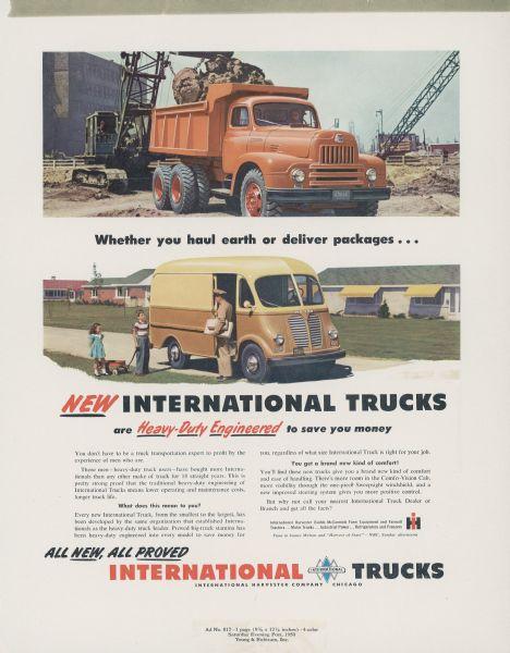 1950 International Metro and dump Truck Advertising Proof