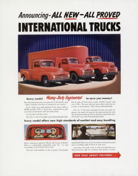 1950 International Truck Advertising Proof ad