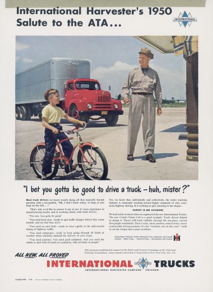 1950 International Truck Advertising Proof with Truck Driver and Boy