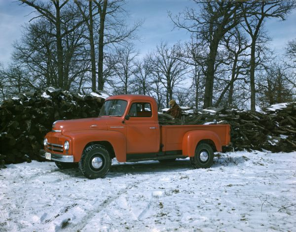 1950 International truck filled with firewood