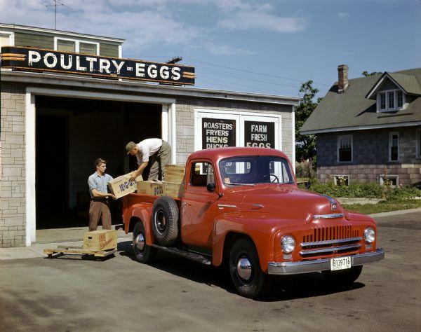 1950 Loading Eggs into International L-120 Pickup Truck