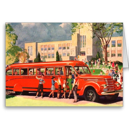 1952 Retro Vintage Kitsch 50s School Kid Red School Bus