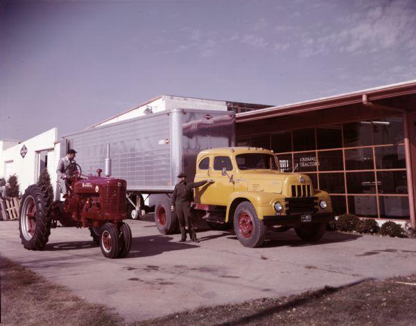 1953 IHC R-205 Sleeper Cab Truck and Farmall Super M Tractor