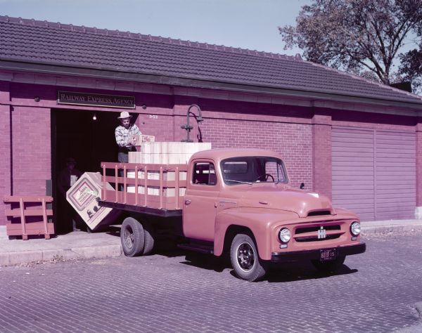 1953 International R-120 truck with a stake body