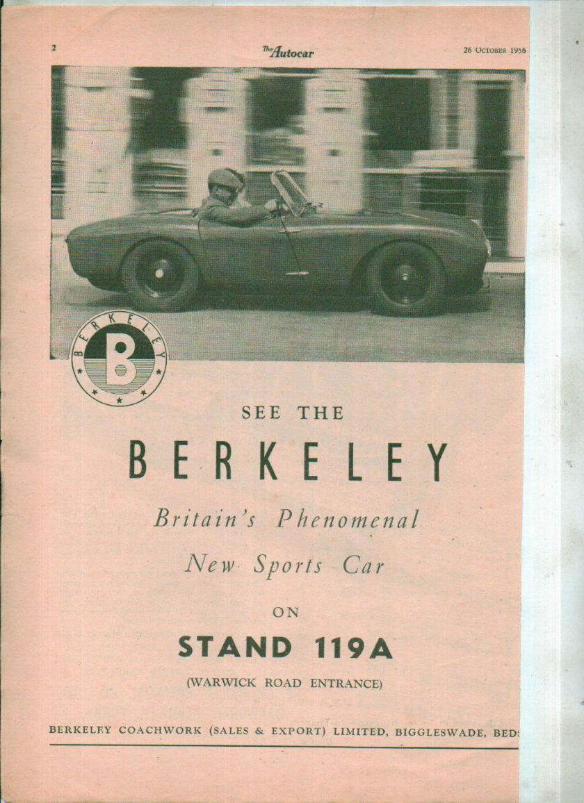 1956 BERKELEY CAR Magazine advert clipping NOT A COPY 1956