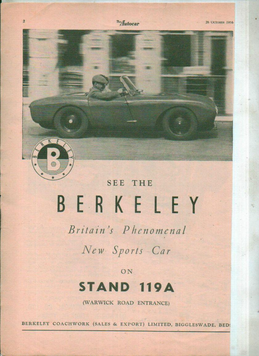1956 BERKELEY CAR Magazine advert clipping NOT A COPY 1956