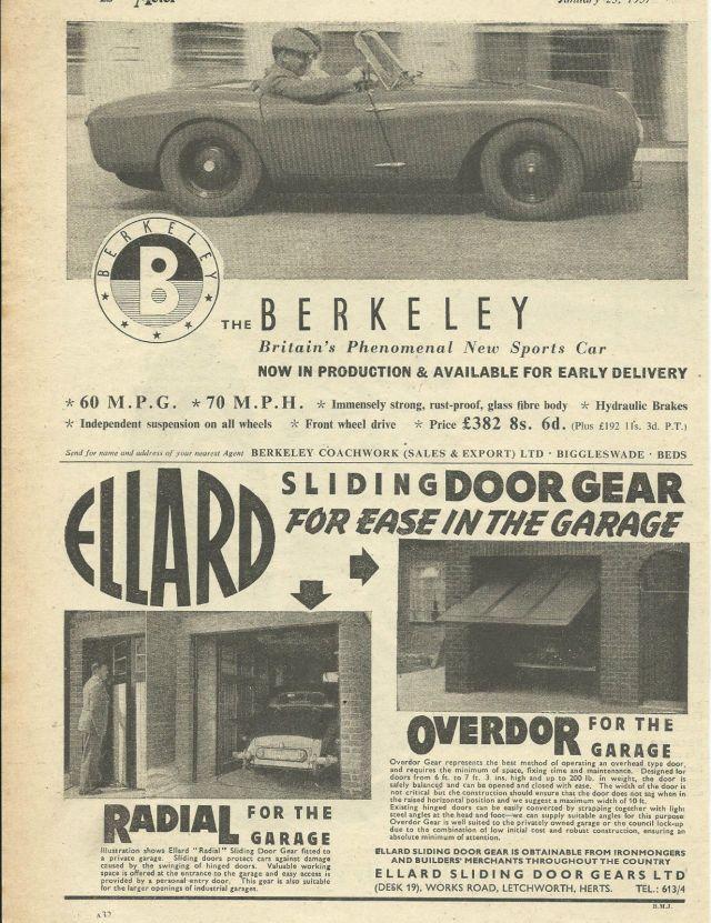 1957 BERKELEY SPORTS CAR original 1957 UK magazine advert cutting 'phenomenal'