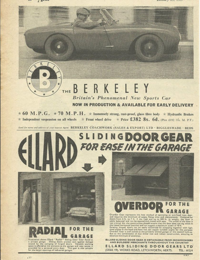 1957 BERKELEY SPORTS CAR original 1957 UK magazine advert cutting 'phenomenal'