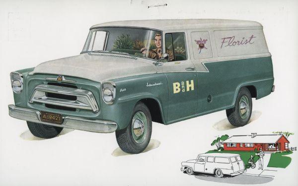 1957 International A-110 Truck Postcard