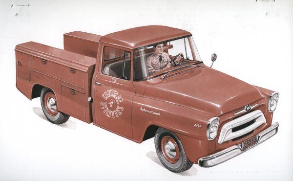 1957 International A-120 Truck Postcard a