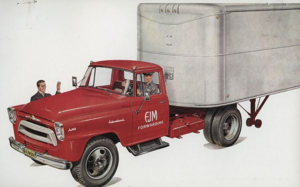 1957 International A-160 Truck Postcard a