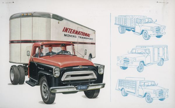 1957 International A-180 Truck Postcard a