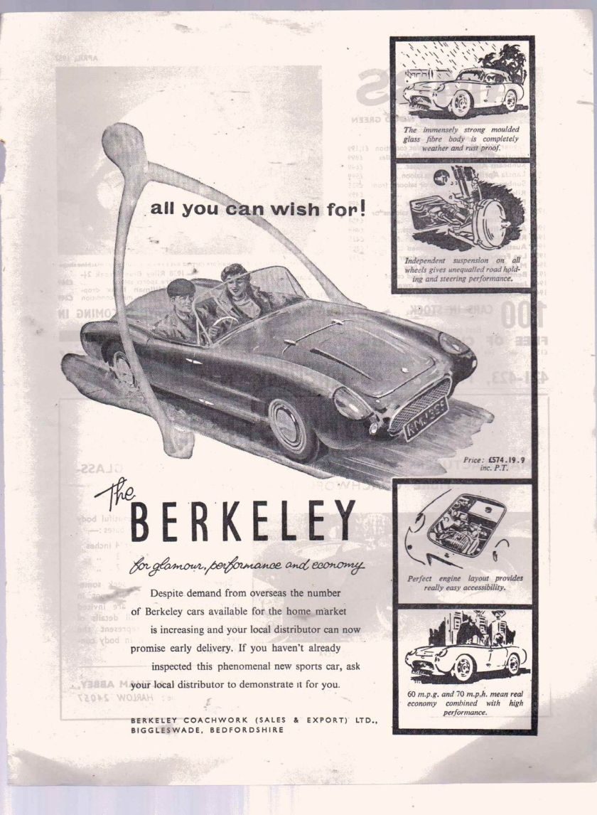 1957 ORIGINAL VINTAGE 1957 BERKELEY SPORTS CAR ADVERT