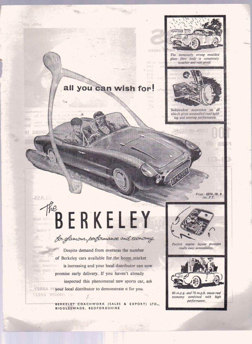 1957 ORIGINAL VINTAGE 1957 BERKELEY SPORTS CAR ADVERT
