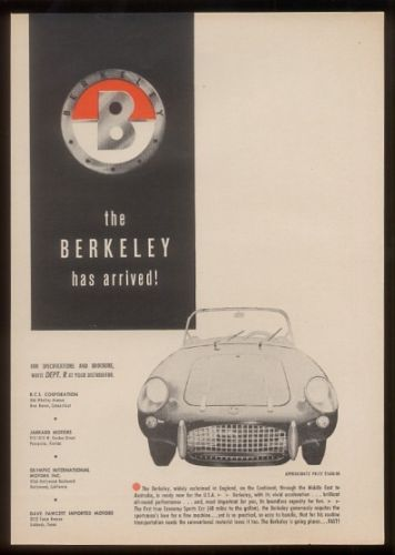 1958 Berkeley sports car photo vintage print ad
