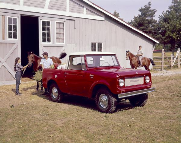 1964 International Scout in front of Horse Stable