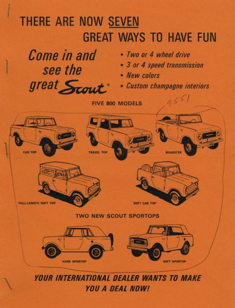 1966 Advertisement displaying illustrations of the seven International Scout vehicle models, including five 800 models and two Sportops