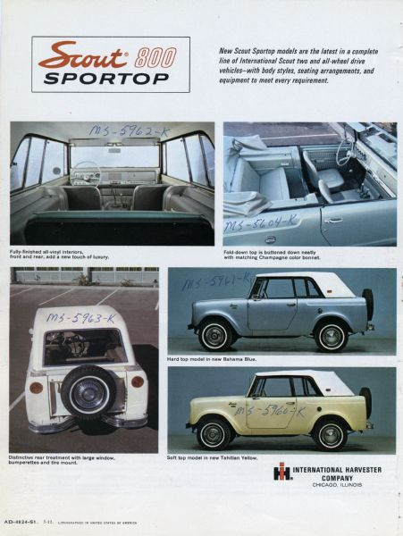 1966 International Scout 800 Sportop Booklet Back Cover