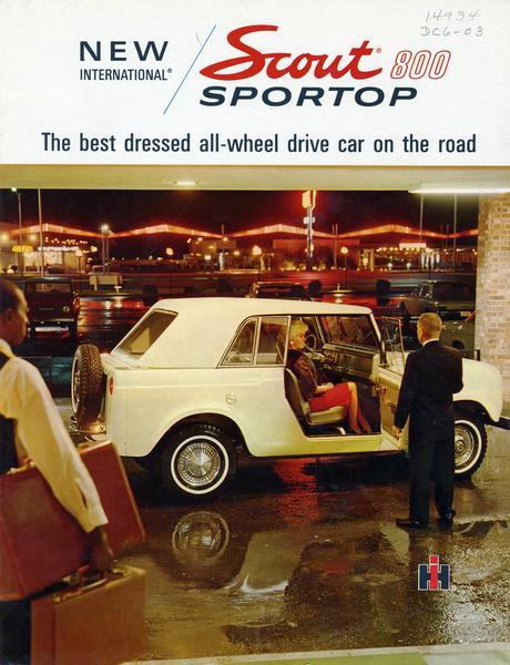 1966 International Scout 800 Sportop featuring the slogan The best dressed all-wheel drive car on the road