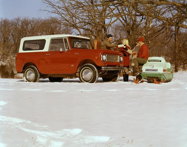 1970 Couples in the Snow with an International Scout