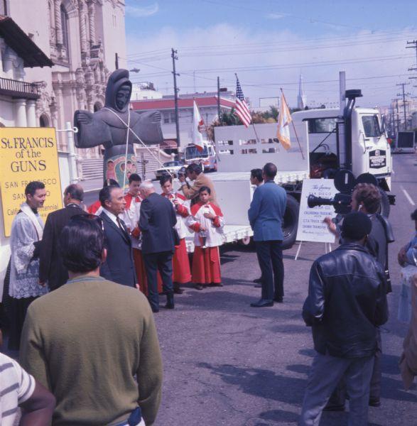 1970 International C-O 4070A Transtar truck moving Statue at Mission San Juan Bautista