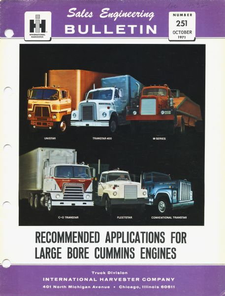 1971 International Harvester's Sales Engineering Bulletin featuring color illustrations of the (from top left) Unistar, Transtar 4 ...