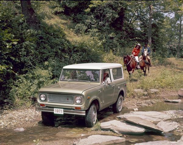 1971 International Scout Crossing Rural Creek