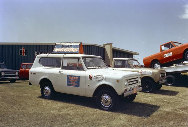 1971 International Scout II pickup trucks parked on the lot of Gilmore International, Inc. Wow Wagon