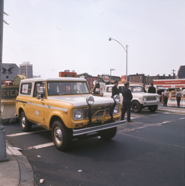 1971 International Sno-Star Scout towing a float for Fire Prevention Week