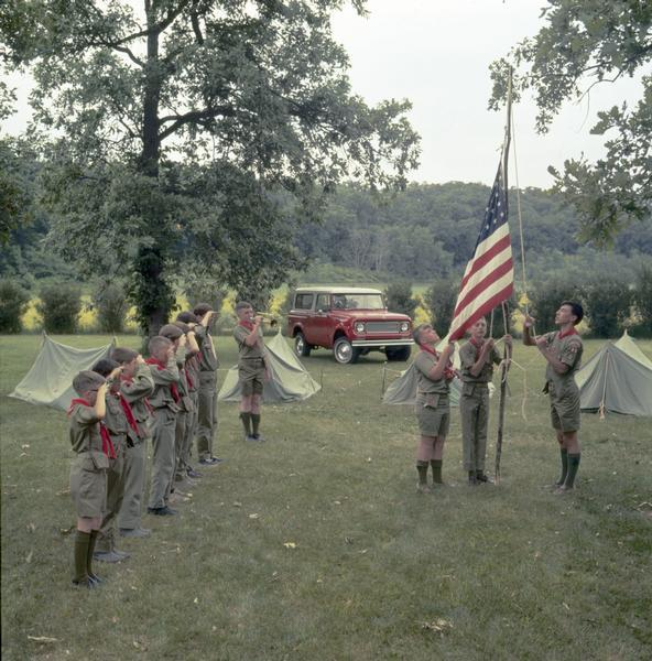 1972 Boy Scouts Raise the Flag at Campground