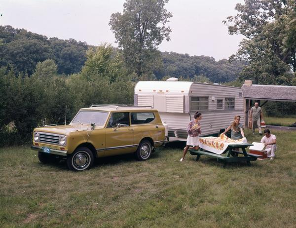 1972 Picnic with International Scout II Pickup and Camper